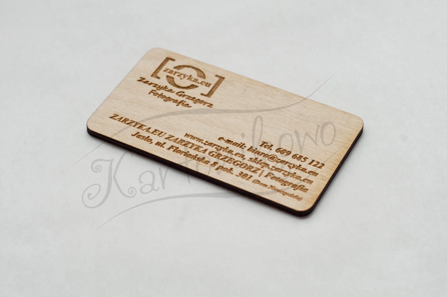 Wizytówka Wizytówki Reklamowe Drewno Sklejka 3mm Kartonikowopl